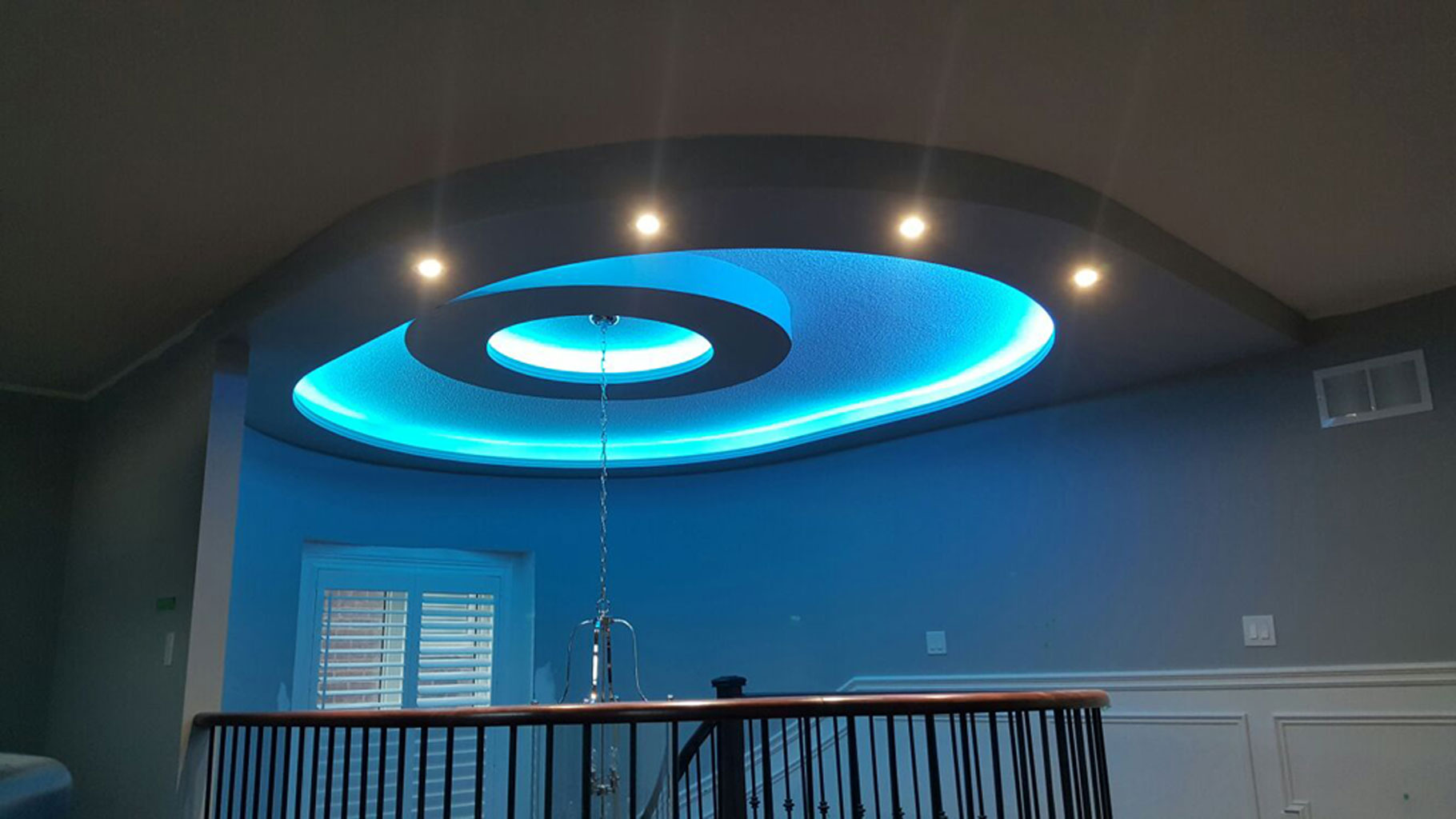 decorative ceiling with controlled rgb lights